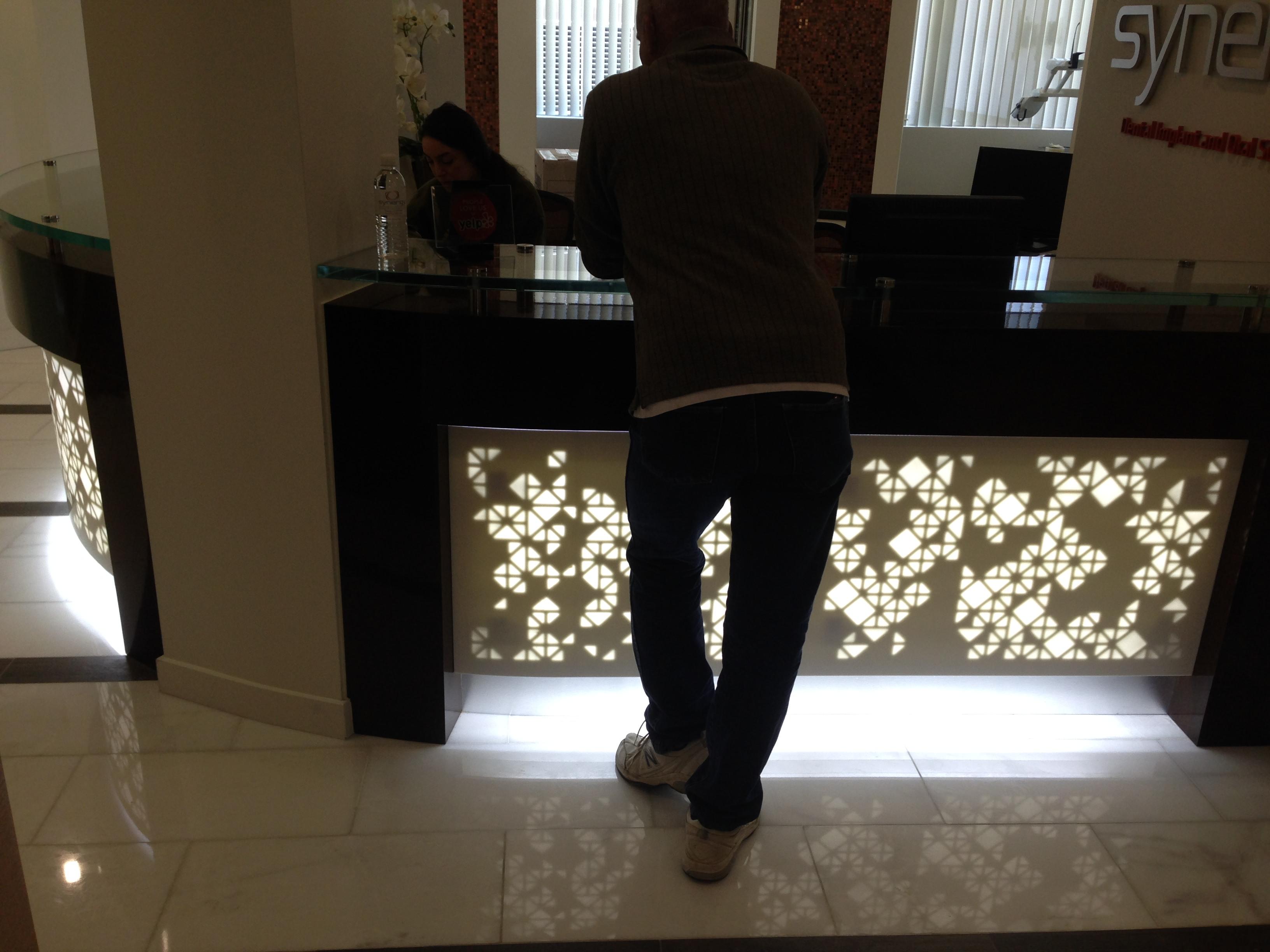 reception desk backlighting hotel