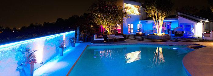 RGB strip light back yard installation poolside