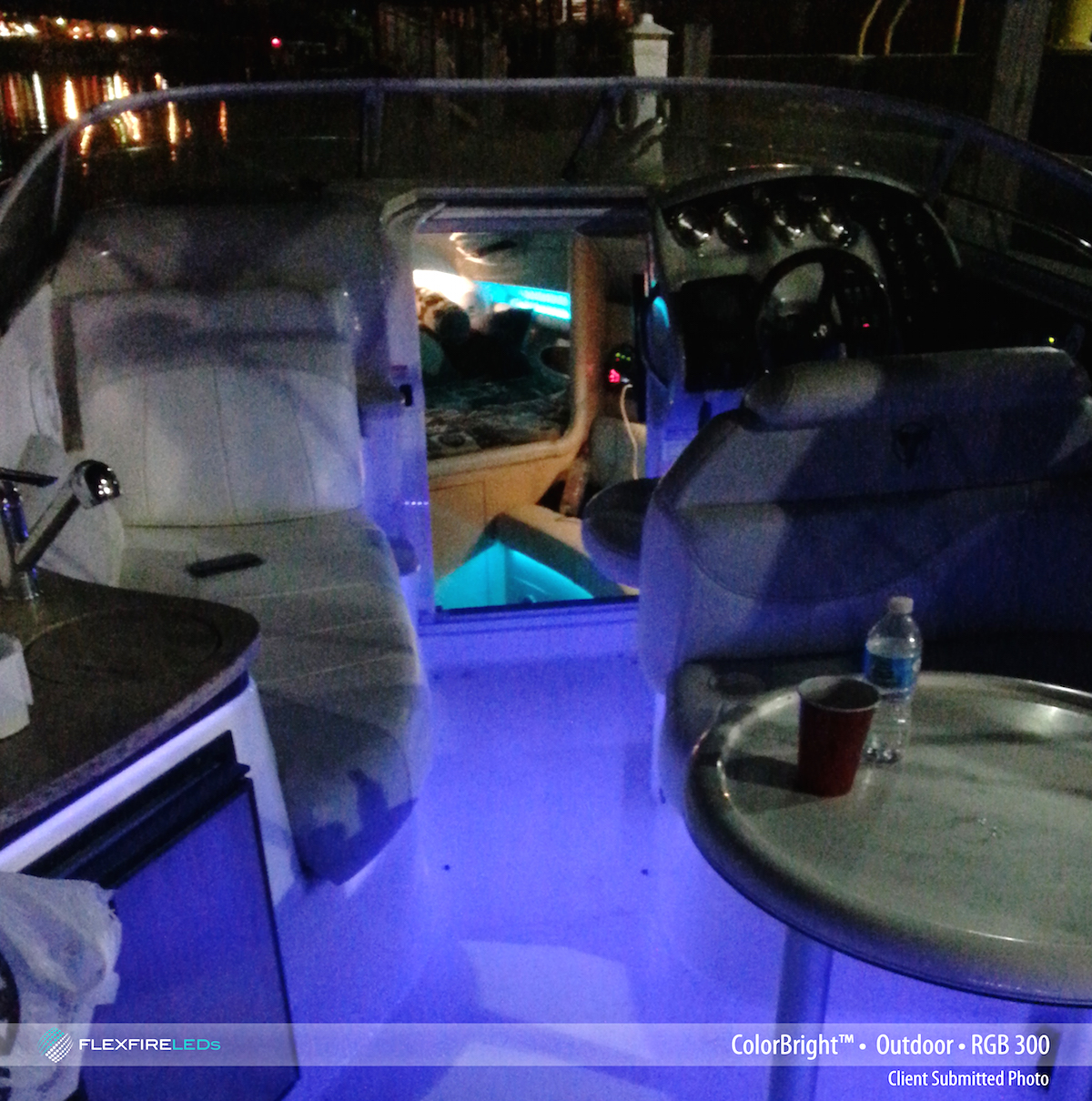 rgb strip lighting in boat installation