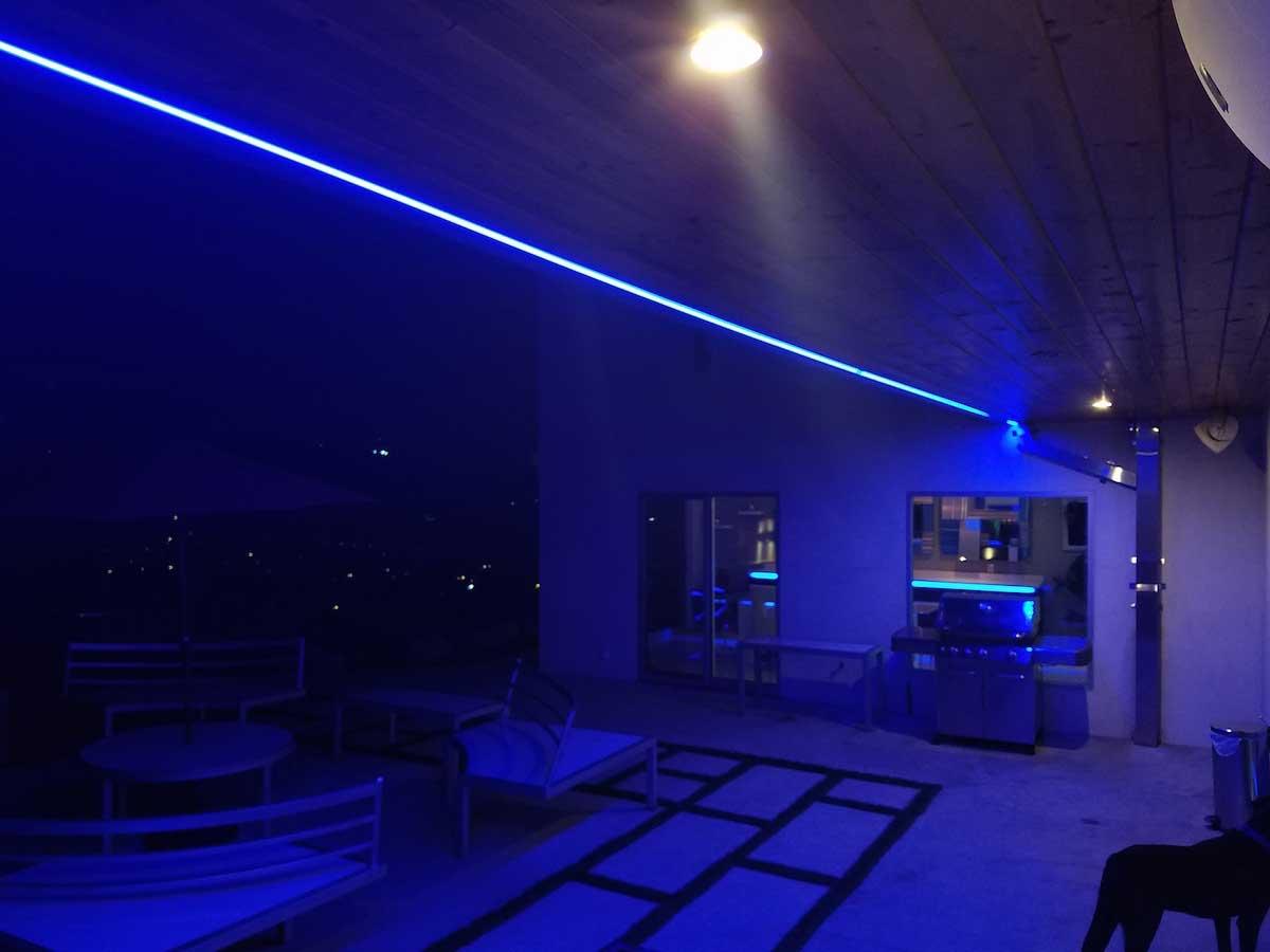 bright blue patio strip lighting example