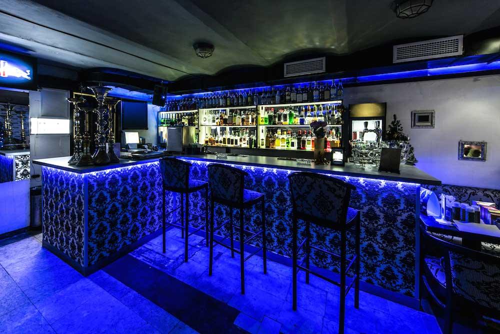 bright blue under bar lighting