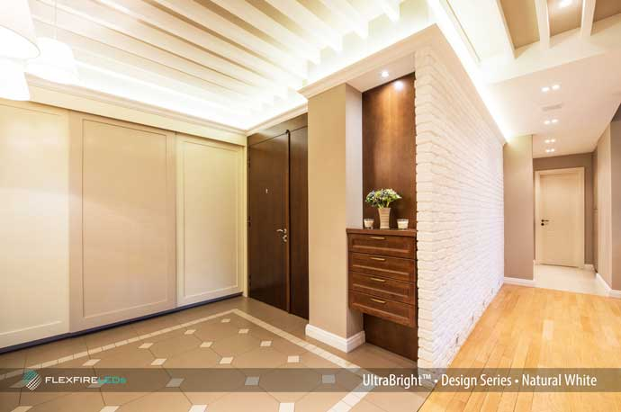 bright linear cove lighting in hotel