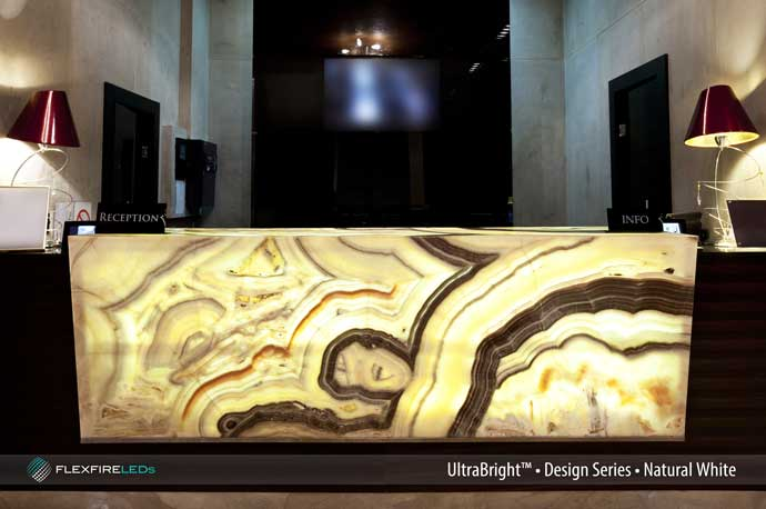 bright onyx backlighting reception desk