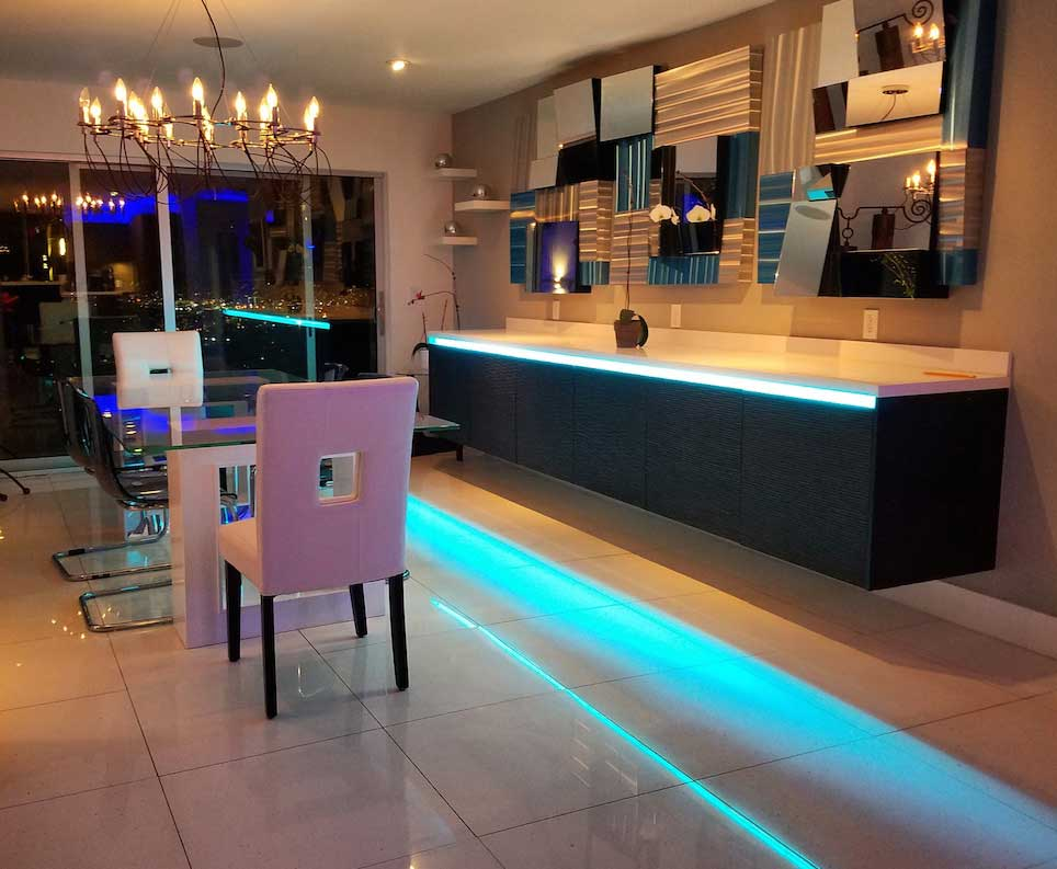 color changing LED strips in dining room