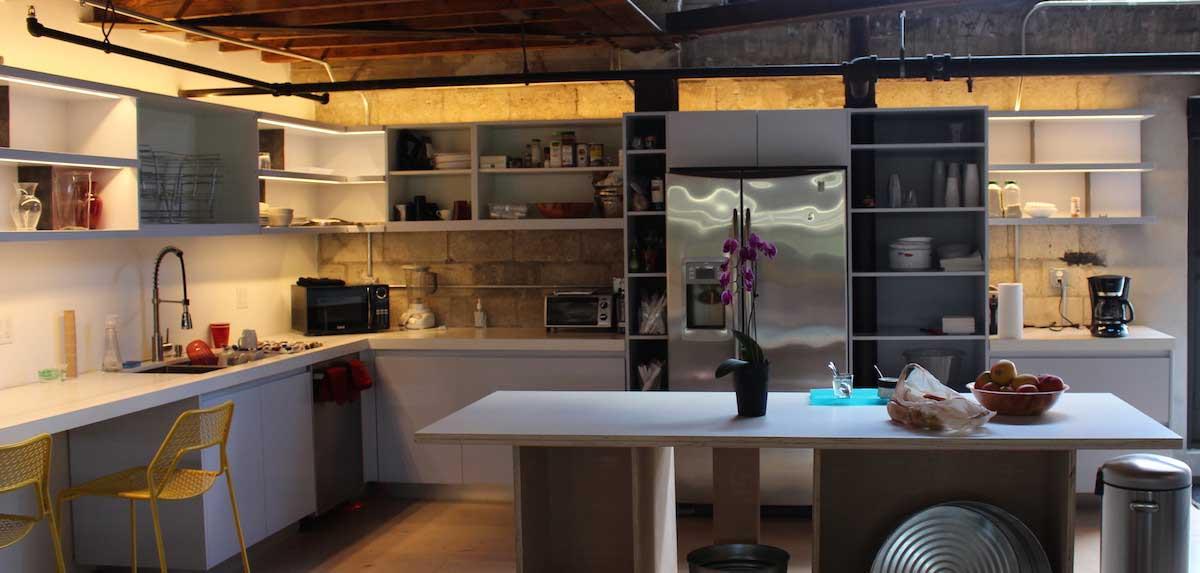 interior design LED strip shelving office