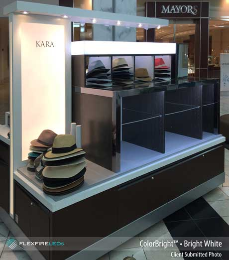 kiosk product lighting with LED strips