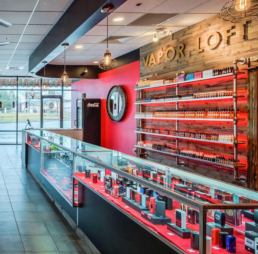 LED display lighitng in vape shop