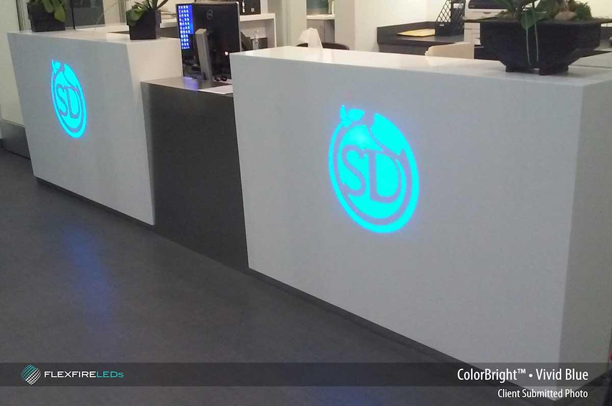 logo backlight with blue LEDs.