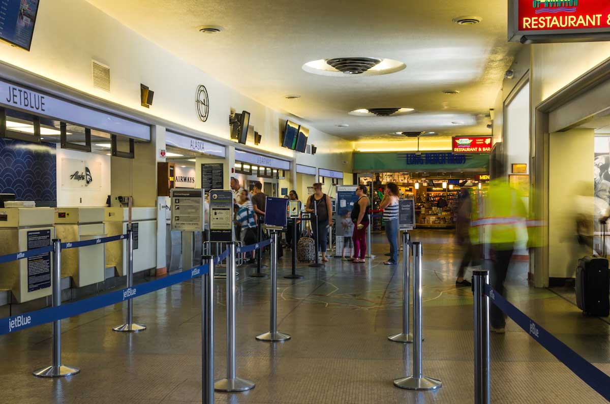 long beach airport terminal uplighting with LED strip lights