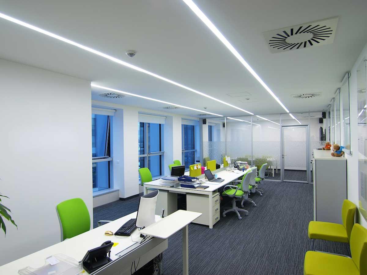 modern linear office LED lighting example