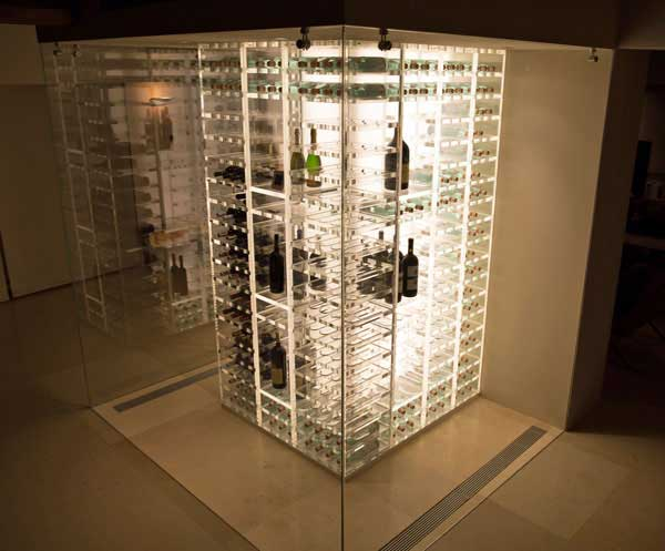 Modern wine cellar glass lighting
