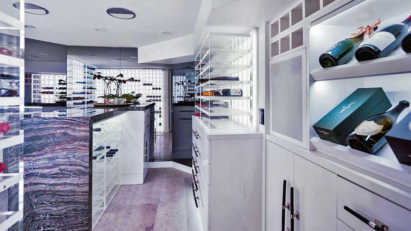 Modern wine cellar lighting