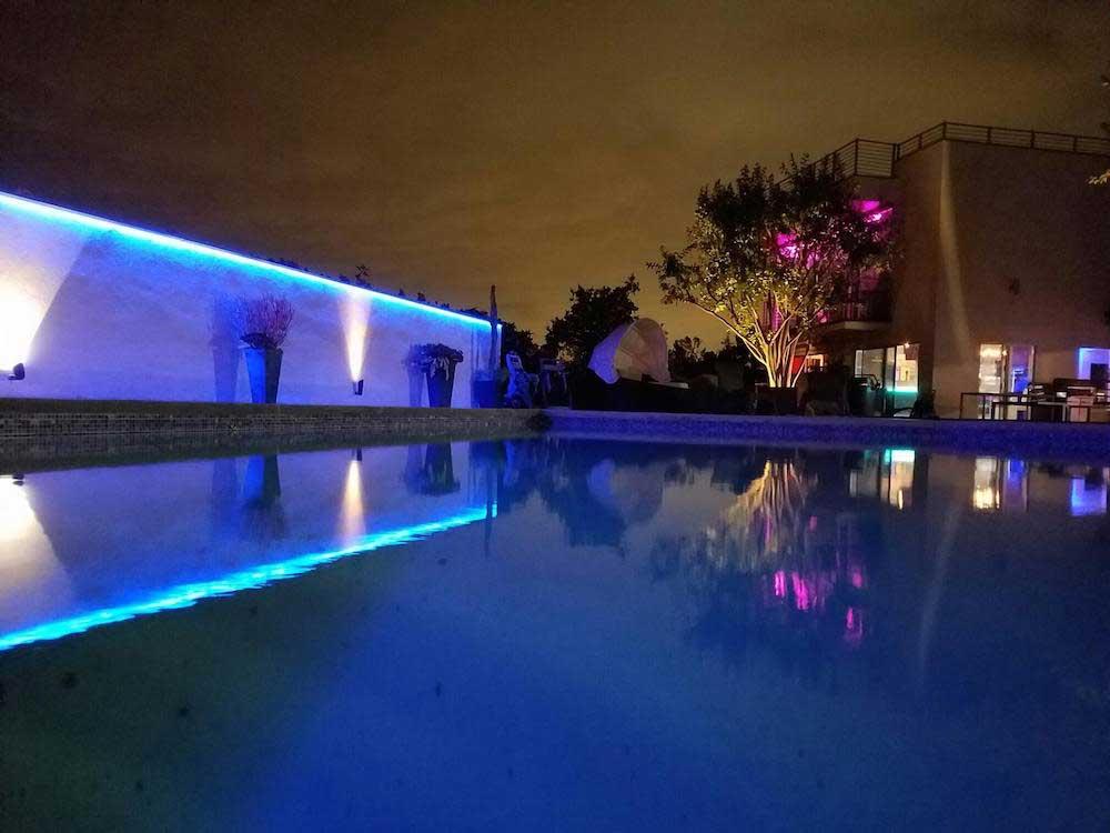 RGB poolside accent patio lighting
