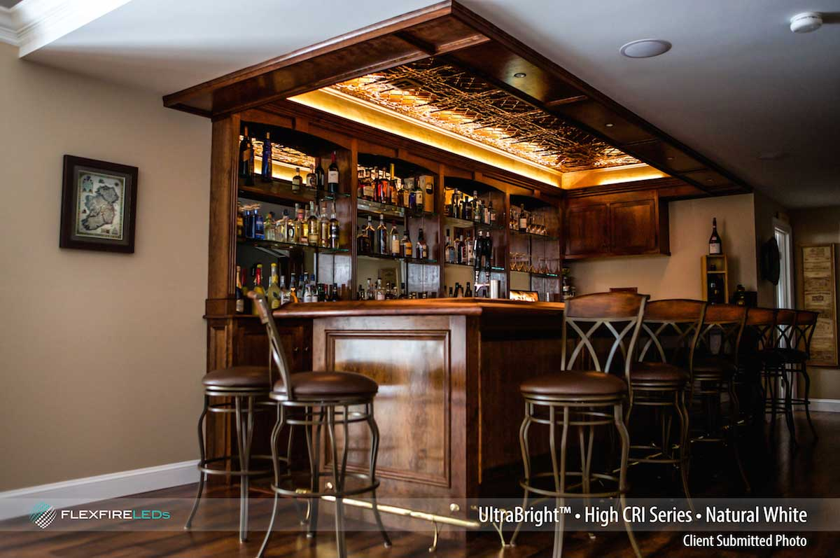 beautiful wooden hotel bar design with high CRI lights