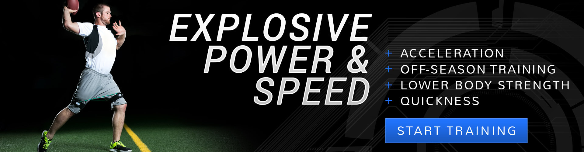 Get explosive power and speed for football; acceleration, off-season training, lower body strength, quickness.