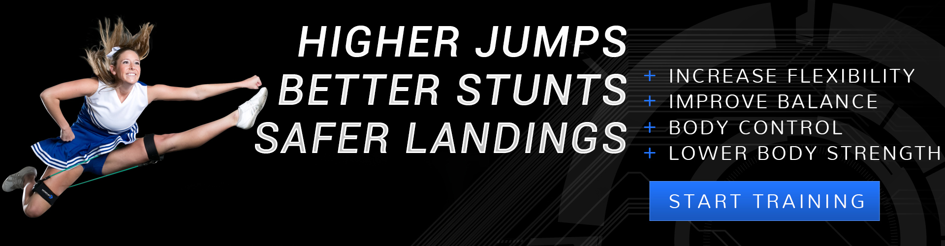 Get higher jumps, better stunts, and safer landings when you use Cheer Kinetic Bands in your cheerleading training program; Improve cheer fitness, flexibility, balance, body control, lower body strength.