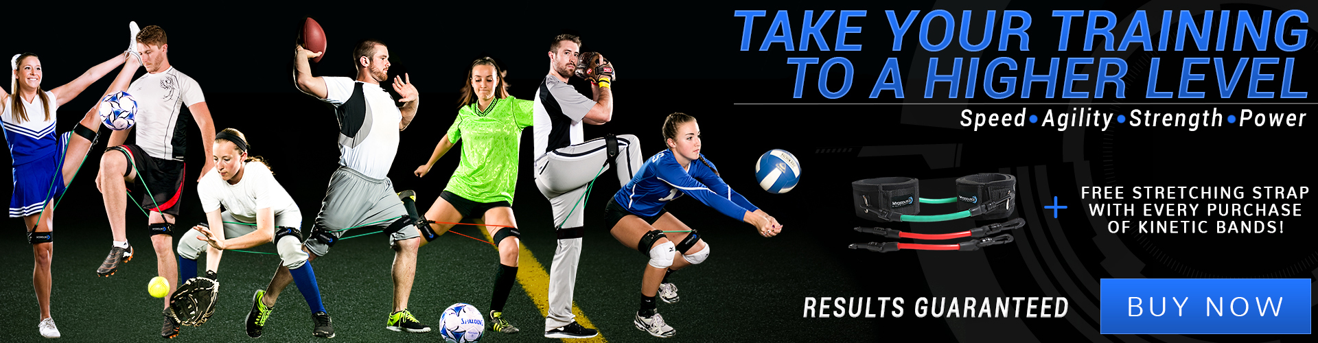 Take your training to a higher level; speed, agility, strength, power. Guaranteed results. Buy Kinetic Bands now.