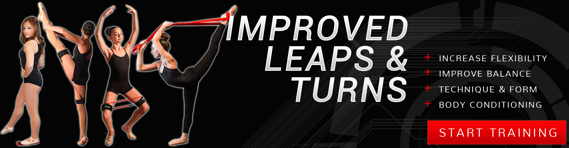 Improve leaps and turns in dance by increasing flexibility, improving balance, technique and form, and body conditioning by training with Kinetic Bands and our other dance products.