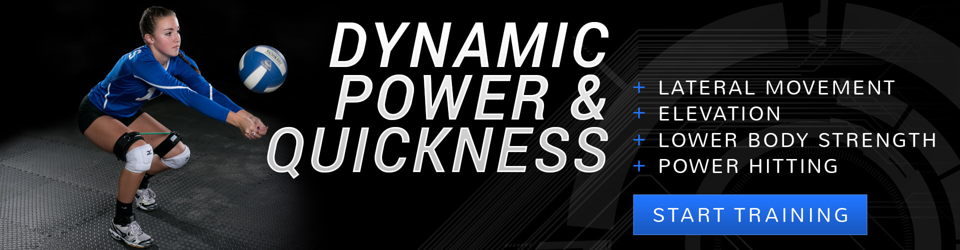 Get dynamic power and quickness in volleyball when you train with Kinetic Bands. Improve multi-directional speed, higher vertical jumps, lower body strength, power hitting.