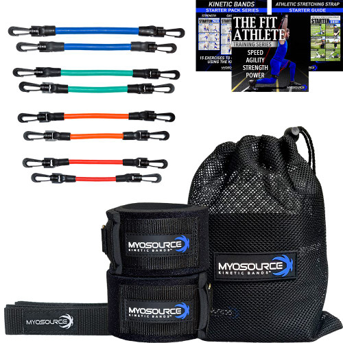 Wearing Kinetic Bands can help strengthen legs, hips, and core muscles to improve speed, agility, strength, and power while you practice your sport. Includes: 2 leg straps, 4 sets of resistance bands, handy mesh travel bag. Free speed and agility and other training downloads and athletic stretching strap with your purchase.