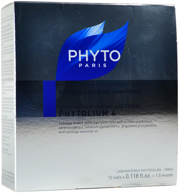 Phyto Phytolium 4 Energizing Botanical Concentrate For Thinning Hair (12x 0.118 fl. oz. Vials)