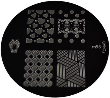 Konad Nail Art Image Plate #M93 (Full Nail, Checkers,Cubes, Spades)