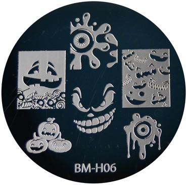 Bundle Monster Image Plate BM-H06: Pumpkin, Ghost, Full Nail, Halloween