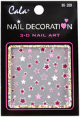 Cala Red And Pink Glitter Stars 3D-Nail Decal