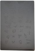 Konad Nail Art Square Image Plate #04: Skulls, Cross, Monsters, Words, etc