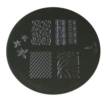 Image Plate #M57 (Full Nail, Lepord Print, Flowers, Lattice) by Konad Nail Stamping