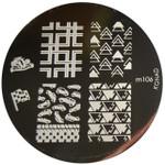 Konad Nail Art Image Plate #M106 (Trees, Cars, Triangles)