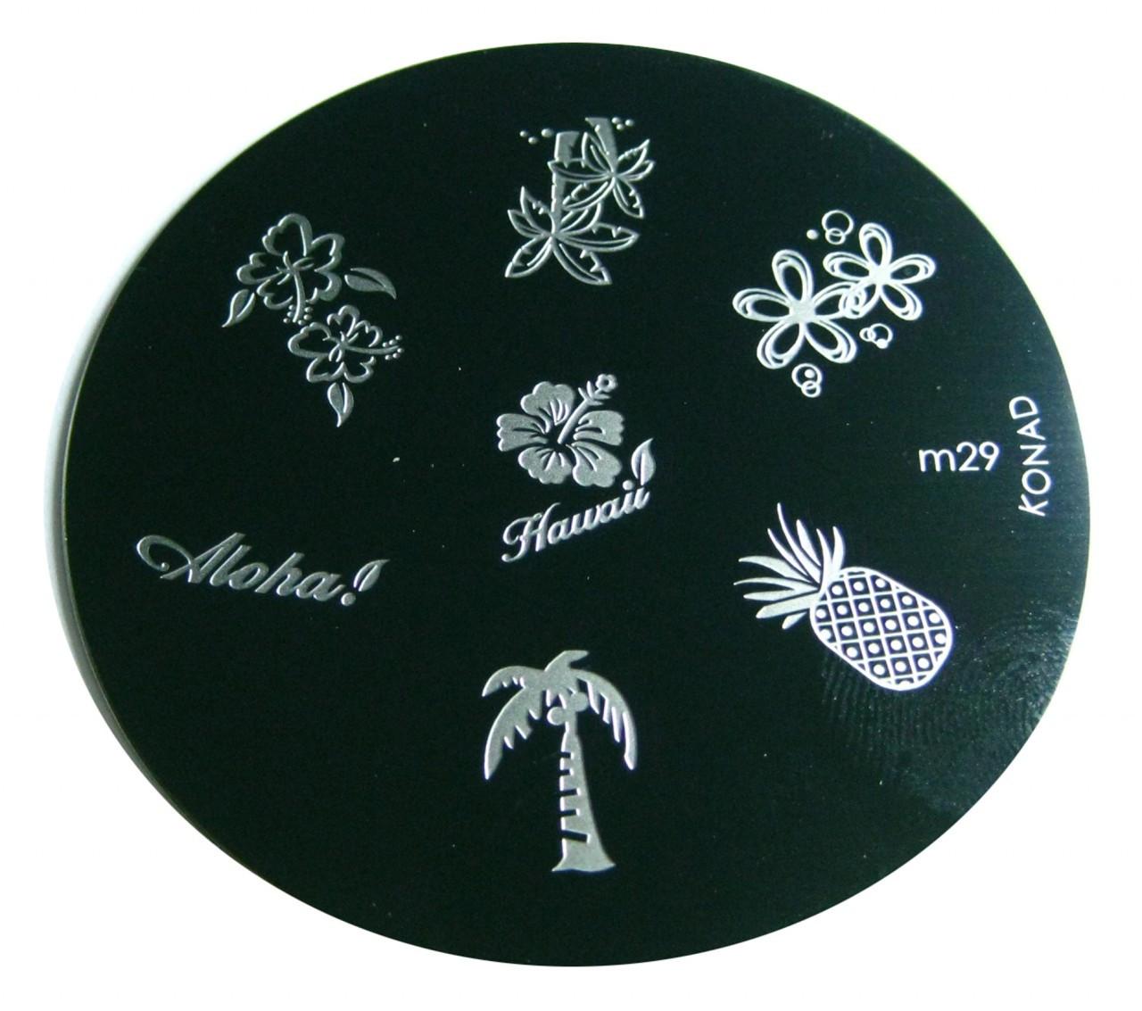 Image Plate M29 Hawaii Pineapple Tree Flower By Konad Nail Art