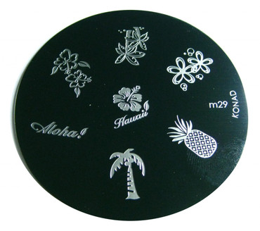 Image Plate M29 Hawaii Pineapple Tree Flower By Konad Nail Art