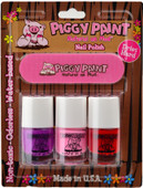 Piggy Paint for Kids Groovy Grape, Pinkie Promise & Sometimes Sweet 3 pc Mini Set w/ Nail File