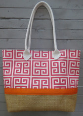 Pink Greek Key Beach Bag