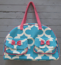 Aqua and Pink Overnight Bag