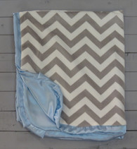 Blue and Grey Chevron Blanket