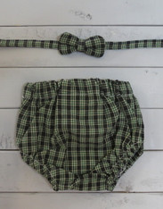Green Plaid Bow Tie/Diaper Cover Set
