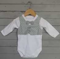 Grey Dot Bow Tie Vest