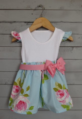 Flower Cap Sleeve Bow Dress