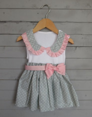 Grey Dot Collar Bow Dress