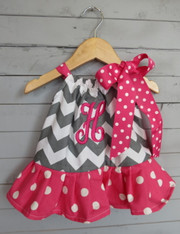 Grey Chevron Pillowcase Dress