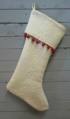 Cream Stocking with Red Trim