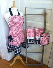 Pink Greek Key Apron