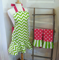 Green Chevron Apron