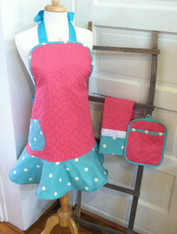 Pink and Aqua Polkadot Apron