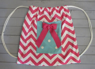 Pink Chevron and Aqua Polkadot Gym Bag