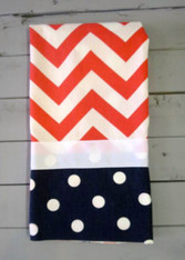 Coral Chevron and Navy Dot Hand Towel