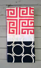 Pink Greek Key and Navy Nautical Hand Towel