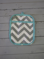 Gray and Turquoise Pot Holder